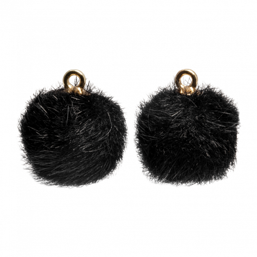 Pompon Charms (12 mm) Gold / Black (10 Stück)