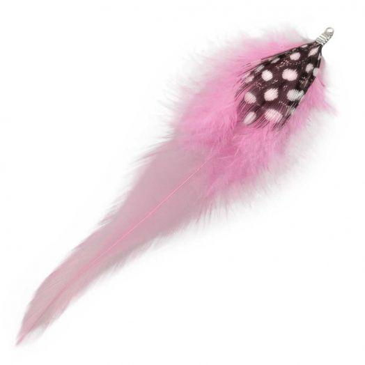 Federn mit Punkten (10 cm) Party Pink (10 Stück)