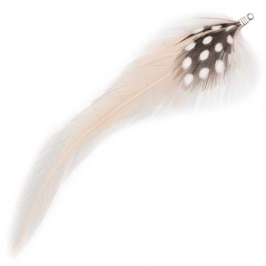 Federn mit Punkten (10 cm) Nude (10 Stück)