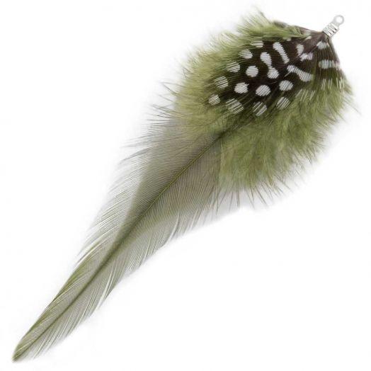 Federn mit Punkten (10 cm) Moss Green (10 Stück)