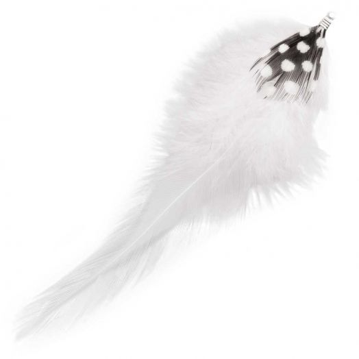 Federn mit Punkten (10 cm) White (10 Stück)