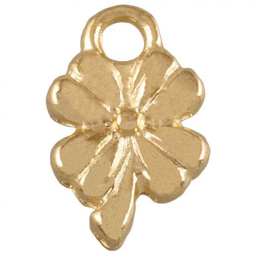 Charm Kleeblatt (13 x 8 mm) Gold (25 Stück)