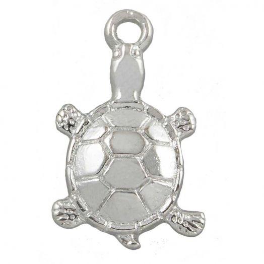 Charm Schildkröte (11 x 7 mm) Altsilber (25 Stück)