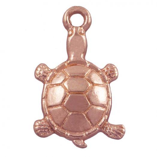 Charm Schildkröte (11 x 7 mm) Rose Gold (25 Stück)