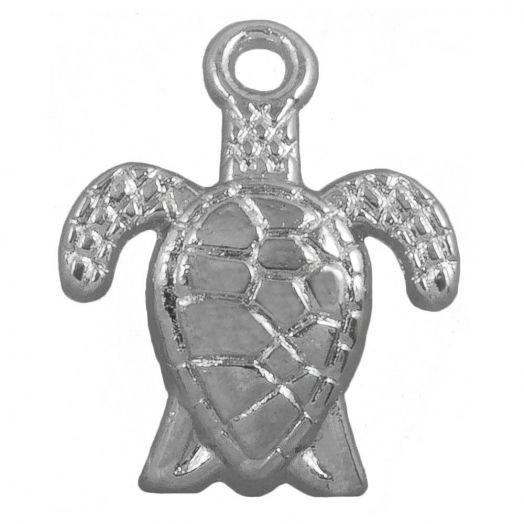 Charm Schildkröte (16 x 8 mm) Altsilber (25 Stück)