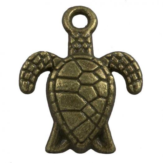 Charm Schildkröte (16 x 8 mm) Bronze (25 Stück)