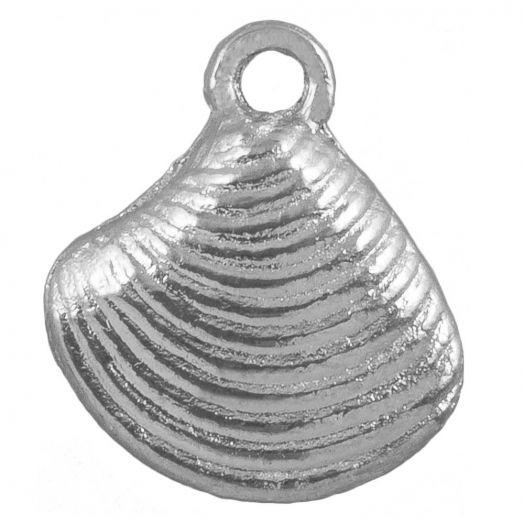 Charm Muschel (14 x 13 mm) Altsilber (25 Stück)