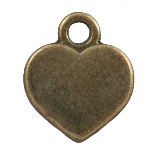 Charm Herz (12 x 10 mm) Bronze (25 Stück)