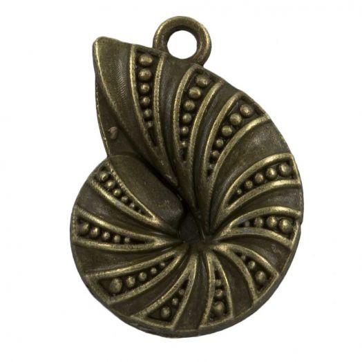 Charm Muschel (23 x 17 mm) Bronze (25 Stück)