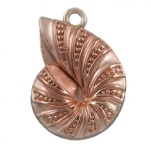 Charm Muschel (23 x 17 mm) Rose Gold (25 Stück)