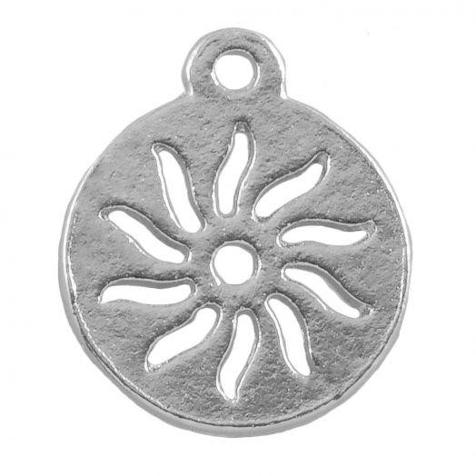 Charm Sonne (12 mm) Altsilber (25 Stück)