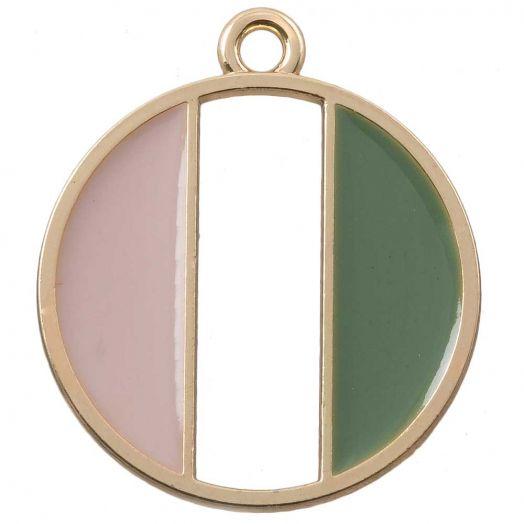 Anhänger Emaille (26 x 23 mm) Pink Green (5 Stück)