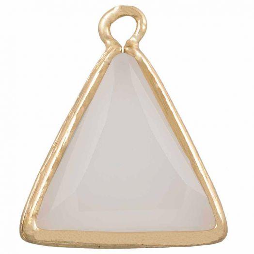 Dreieck Charms (21 x 18 mm) White Milkglass (2 Stück)