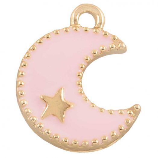 Charm Emaille Mond (18 x 13 mm) Pink (10 Stück)