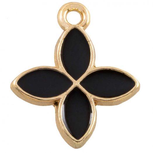 Charm Emaille Blume (18 x 15 mm) Black (10 Stück)