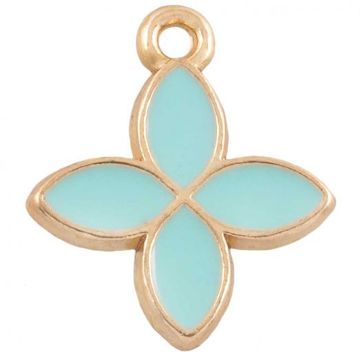 Charm Emaille Blume (18 x 15 mm) Sky Blue (10 Stück)