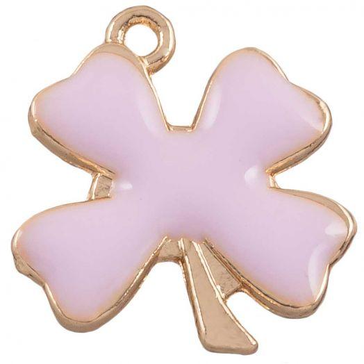 Charm Emaille Kleeblatt (18 x 13 mm) Pink (10 Stück)