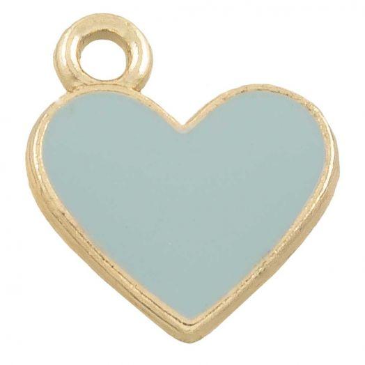 Charm Emaille Herz (12 x 11 mm) Grey Blue (10 Stück)