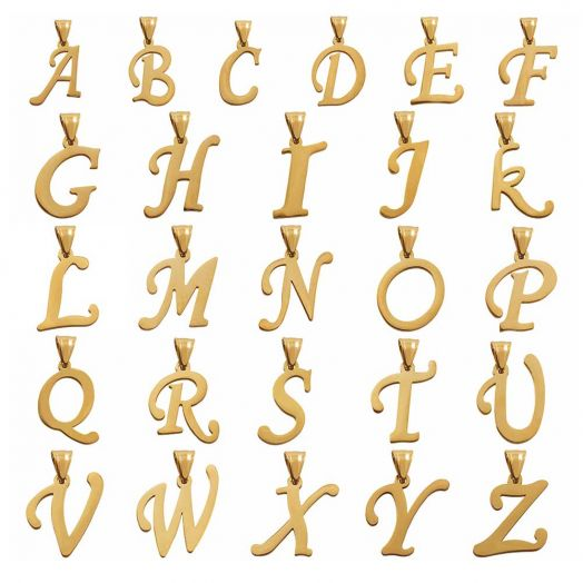 Stainless Steel Buchstabenanhänger A - Z (32 mm) Gold (26 Stück)
