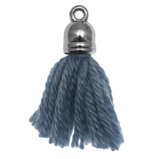 Quasten (20 mm) Aegean Blue / Altsilber (5 Stück)
