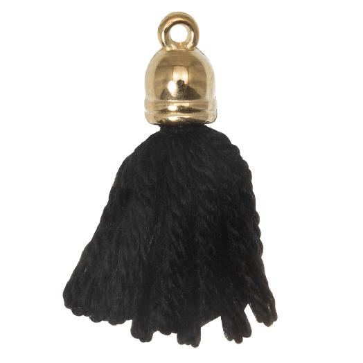 Quasten (20 mm) Black / Gold (5 Stück)