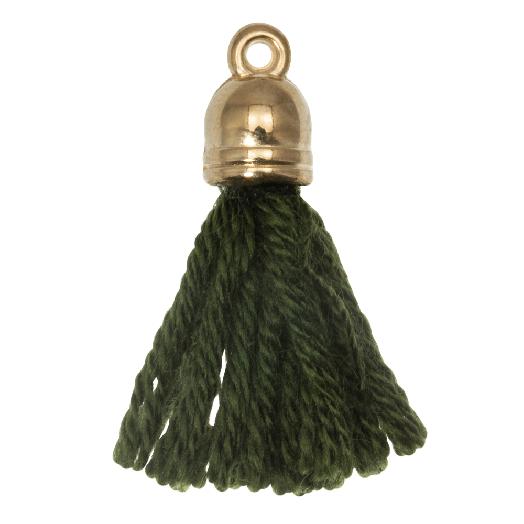 Quasten (20 mm) Seaweed / Gold (5 Stück)