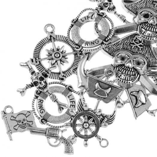 Vorteilset - Charm Mix Piraten (verschiedene Größen) Altsilber (20 Stück)