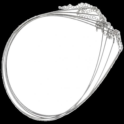 Halskette mit Verlängerungskette (48cm) Silber (5 Stück)