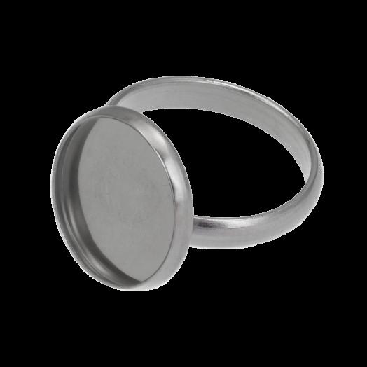 Stainless Steel Ring (für 14mm Cabochon) Altsilber (5 Stück)