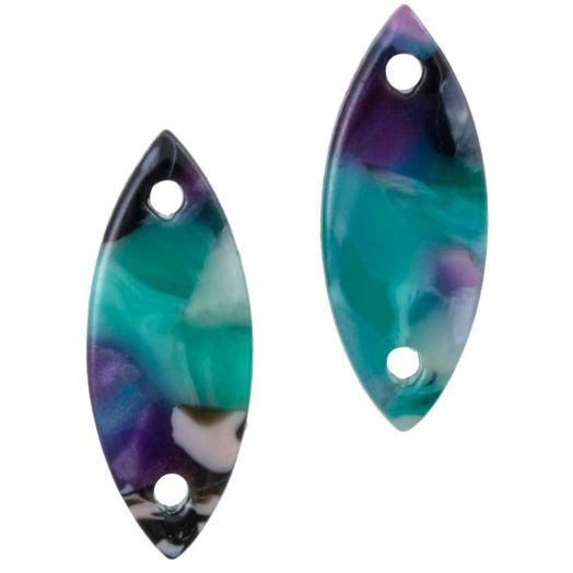 Zwischenstück Kunstharz 2 Öse (16 x 6 mm) Turquoise (10 Stück)