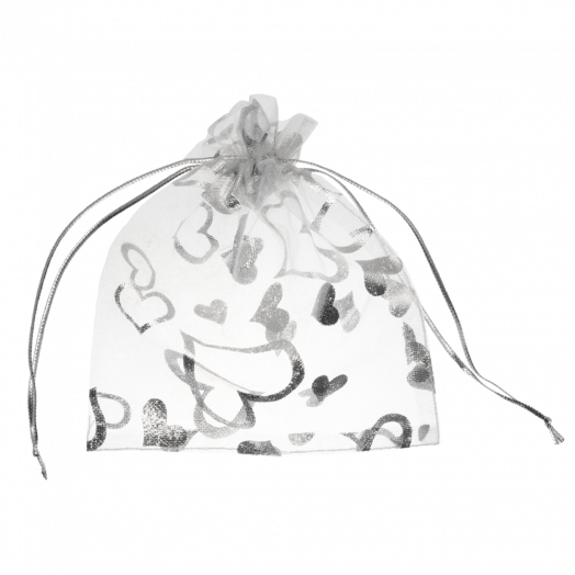 Organzabeutel (7 x 9 cm) White & Silver (25 Stück)