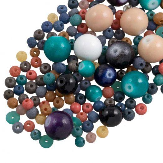 Vorteilset - Glasperlen (verschiedene Größen) Mix Color (500 Gramm)