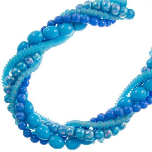 Vorteilset - Glasperlen (verschiedene Größen) Blue (5 stränge)