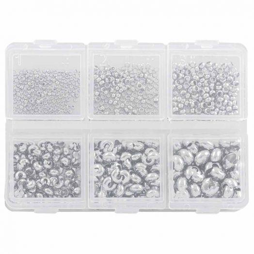 Vorteilset - Quetschperlen und Kaschierperlen (0,8 / 1 /2 mm) Altsilber (1 Stück)