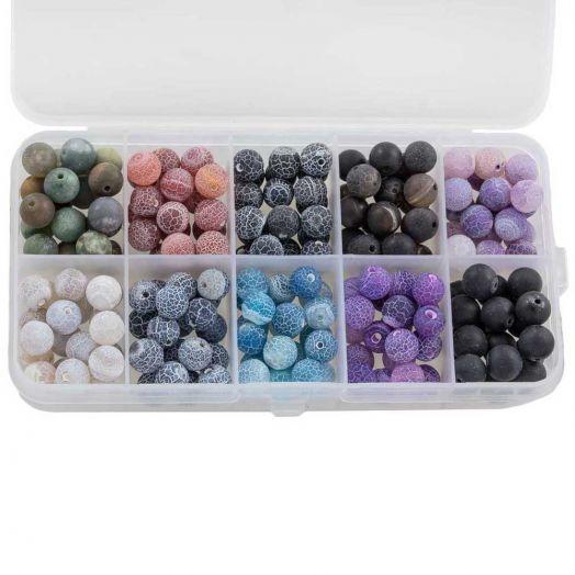 Vorteilset - Achat Perlen (8 mm) Mix Color (10  x 14 Stück)