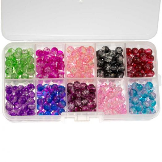 Vorteilset - Crackle Glasperlen (4 mm) Mix Color (1000 Stück)