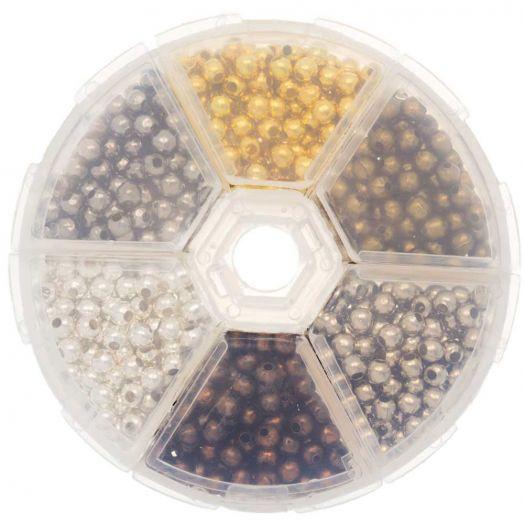 Vorteilset - Metallperlen Mix (4 mm) Mix Color (940 Stück)