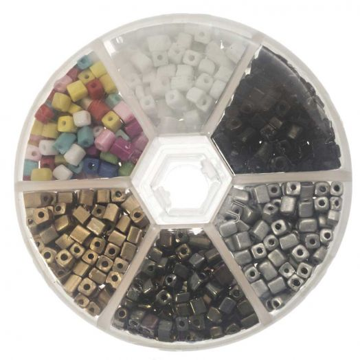 Vorteilset - Cube Glasperlen (4 x 3 mm) 'Mix Color'