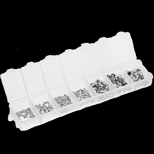 Vorteilset - Endkappen (Innenmass 1 / 1,5 / 2 / 2,5 / 3,5 / 4,5 und 5 mm) Altsilber (180 Stück)