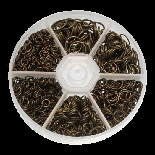 Vorteilset - Biegeringe (6 verschiedene Größen) Bronze (1600 Stück)