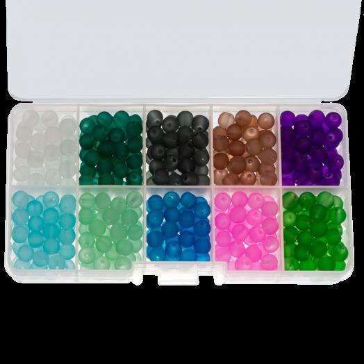 Vorteilset - Frosted Glasperlen (6 mm) Mix Color Bold (600 Stück)