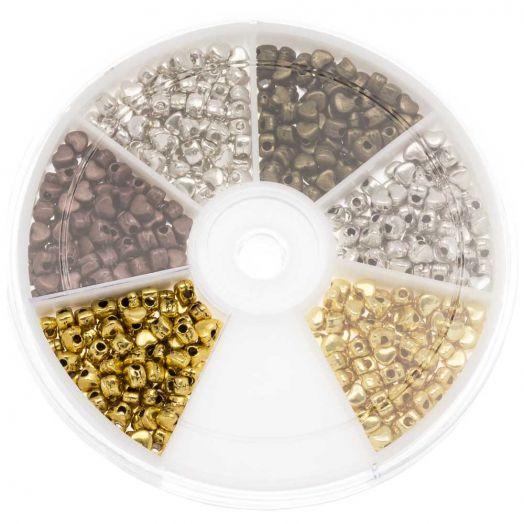 Vorteilset - Metallperlen Heart (4 x 3 mm) Mix Color (700 Stück)