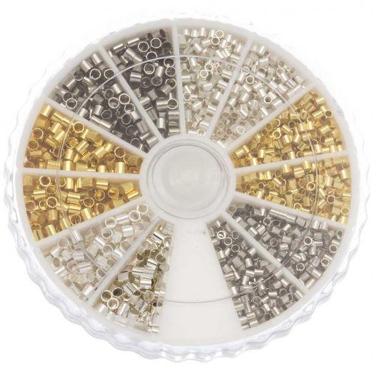Vorteilset - Quetschperlen (Innenmass 1 - 1.5 mm) Mix Color