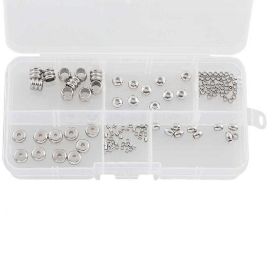 Vorteilset - Stainless Steel Perlen (6 verschiedene Größen) Altsilber