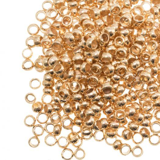 Quetschperlen (Innenmass 2.2 mm) Gold (100 Stück)