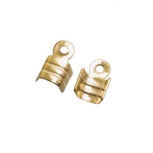Kordelklemme (für 2 mm leder oder 3 mm Wildlederband) Gold (25 Stück)