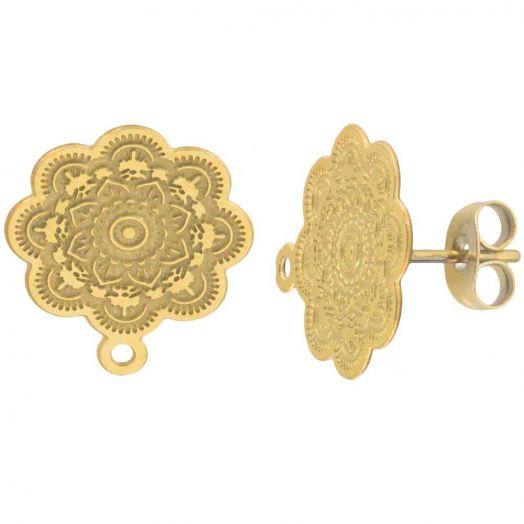 Stainless Steel Ohrstecker mit Verschluss (17 x 15 mm) Gold (4 Stück)