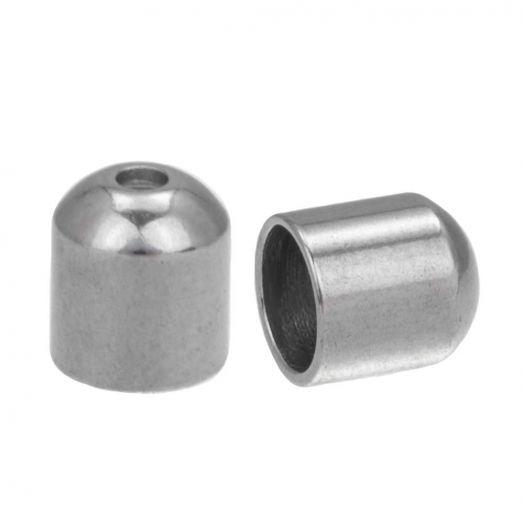 Stainless Steel Kappen (Innenmaß 5 mm - Loch 1 mm) Altsilber (10 Stück)