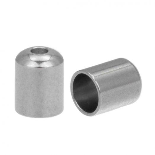 Stainless Steel Kappen (Innenmaß 4 mm - Loch 1 mm) Altsilber (10 Stück)