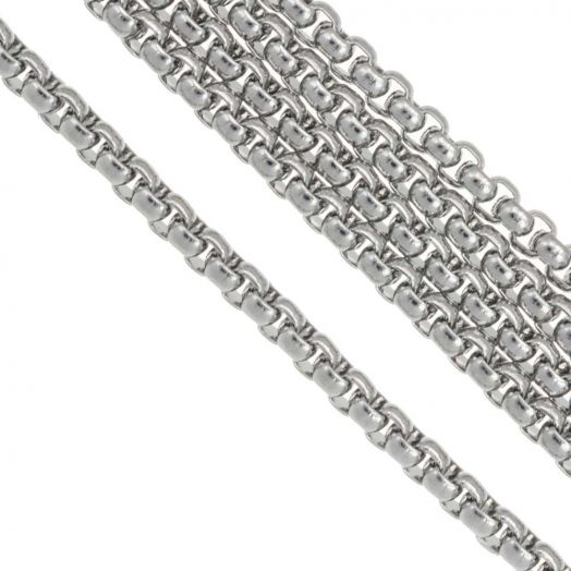 Stainless Steel Gliederkette (4 x 4 mm) Altsilber (2.5 Meter)
